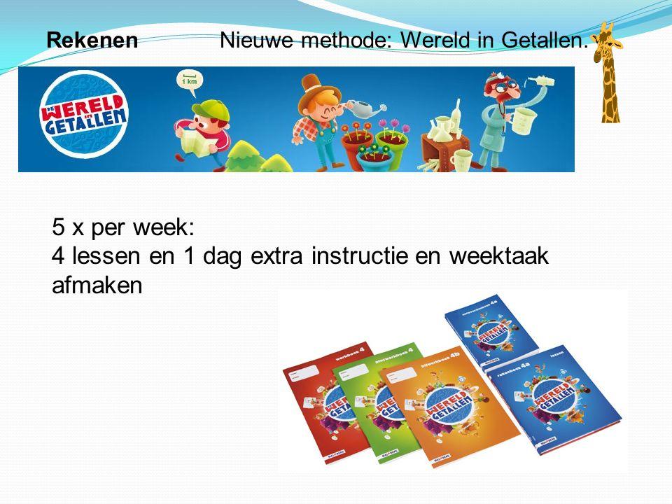 Rekenen Nieuwe methode: Wereld in Getallen. 5 x per week: 4 lessen en 1 dag extra instructie en weektaak afmaken