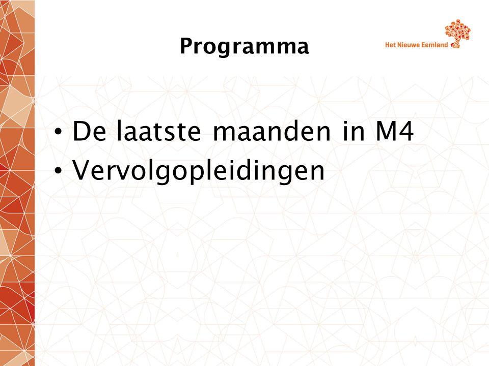 Programma De laatste maanden in M4 Vervolgopleidingen