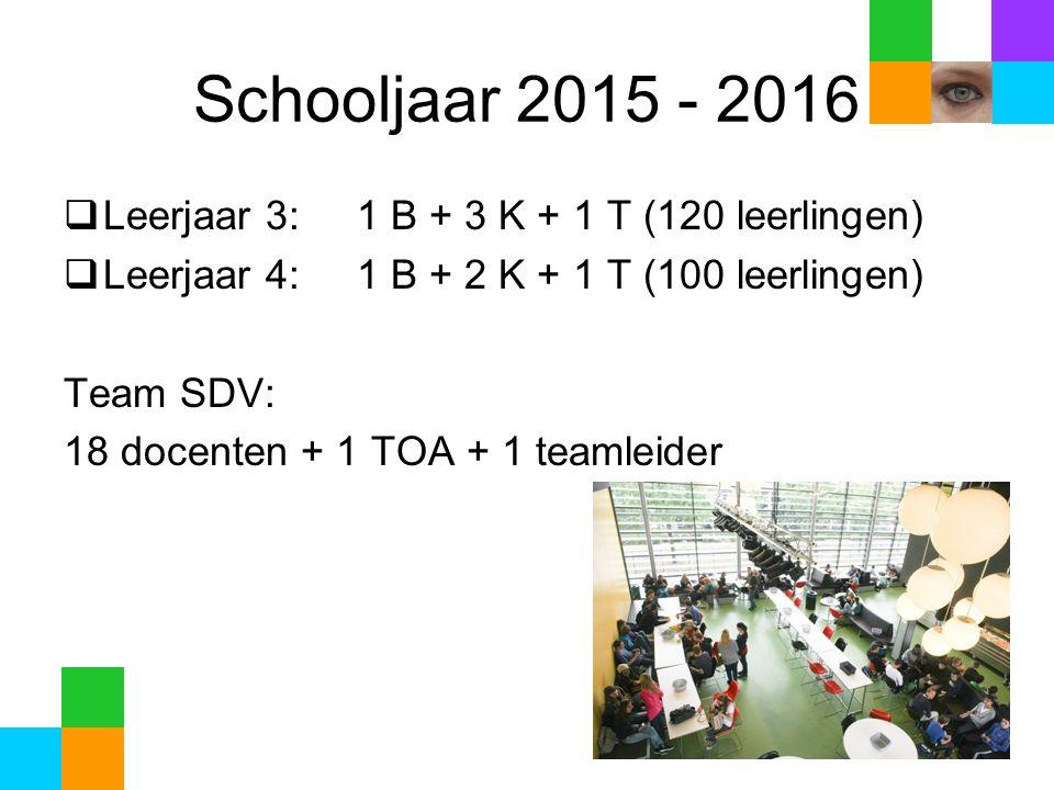 Schooljaar 2015 - 2016  Leerjaar 3: 1 B + 3 K + 1 T (120 leerlingen)  Leerjaar 4: 1 B + 2 K + 1 T (100 leerlingen) Team SDV: 18 docenten + 1 TOA + 1 teamleider
