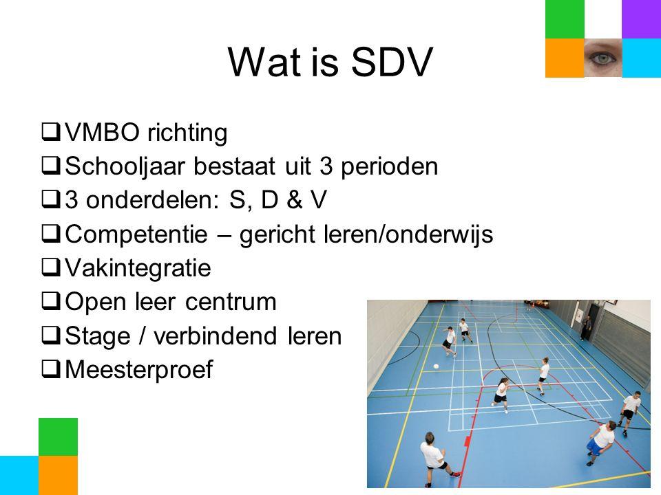 Wat is SDV  VMBO richting  Schooljaar bestaat uit 3 perioden  3 onderdelen: S, D & V  Competentie – gericht leren/onderwijs  Vakintegratie  Open leer centrum  Stage / verbindend leren  Meesterproef