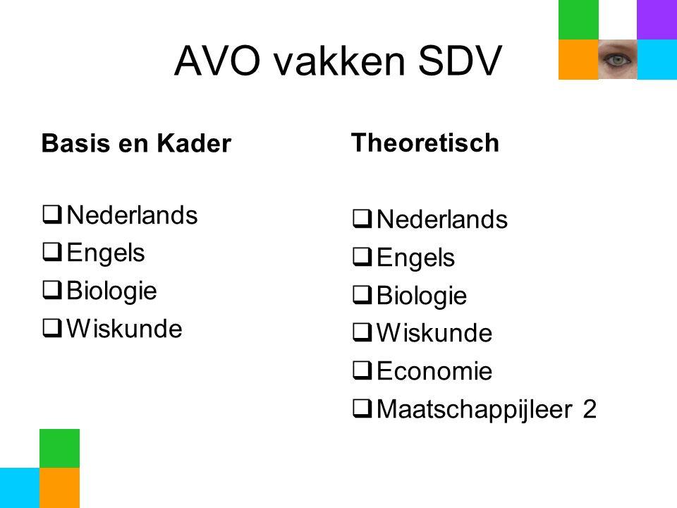 AVO vakken SDV Basis en Kader  Nederlands  Engels  Biologie  Wiskunde Theoretisch  Nederlands  Engels  Biologie  Wiskunde  Economie  Maatschappijleer 2