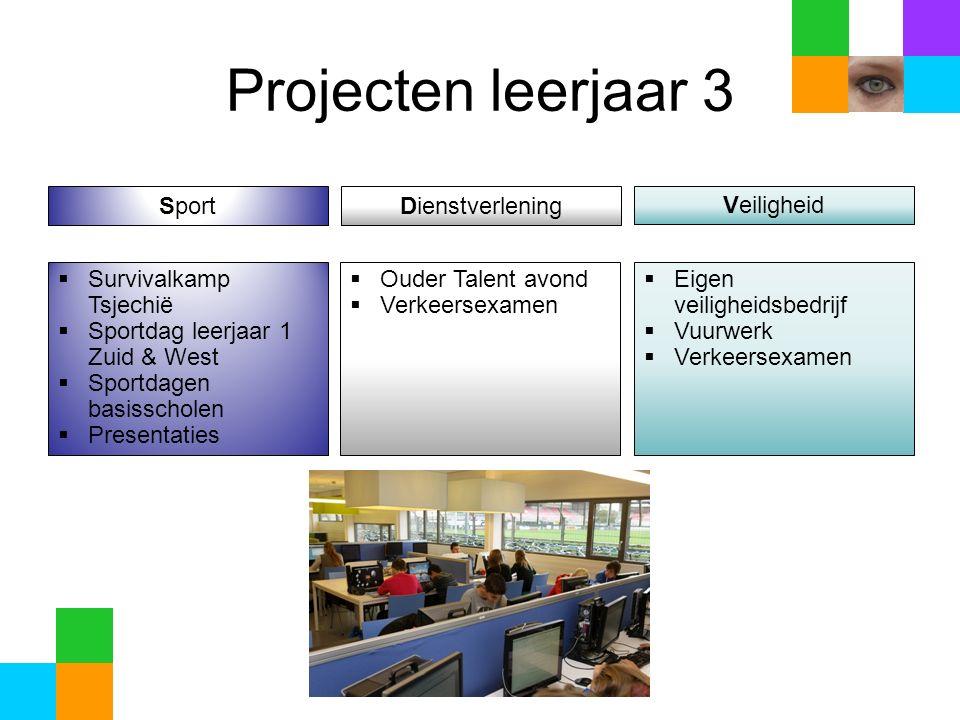 Projecten leerjaar 4  Wintersport  Ondersteuning introductie onderbouw  Zwemvierdaagse  Sectorwerkstuk  Meesterproef
