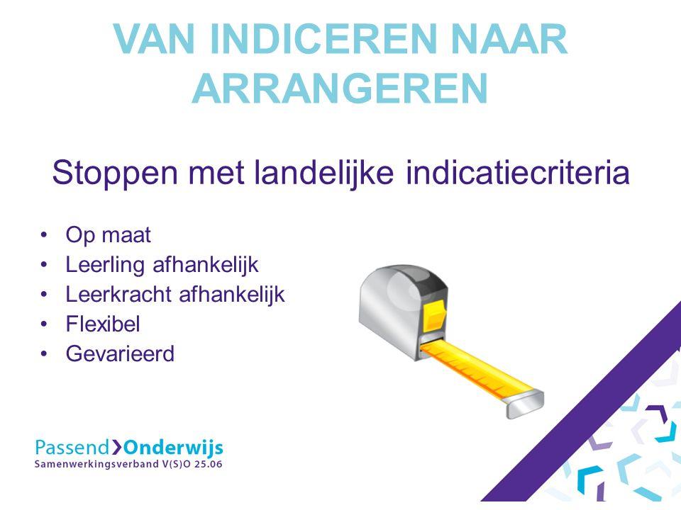 VAN INDICEREN NAAR ARRANGEREN Stoppen met landelijke indicatiecriteria Op maat Leerling afhankelijk Leerkracht afhankelijk Flexibel Gevarieerd