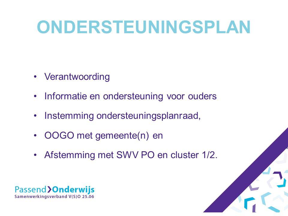 ONDERSTEUNINGSPLAN Verantwoording Informatie en ondersteuning voor ouders Instemming ondersteuningsplanraad, OOGO met gemeente(n) en Afstemming met SWV PO en cluster 1/2.
