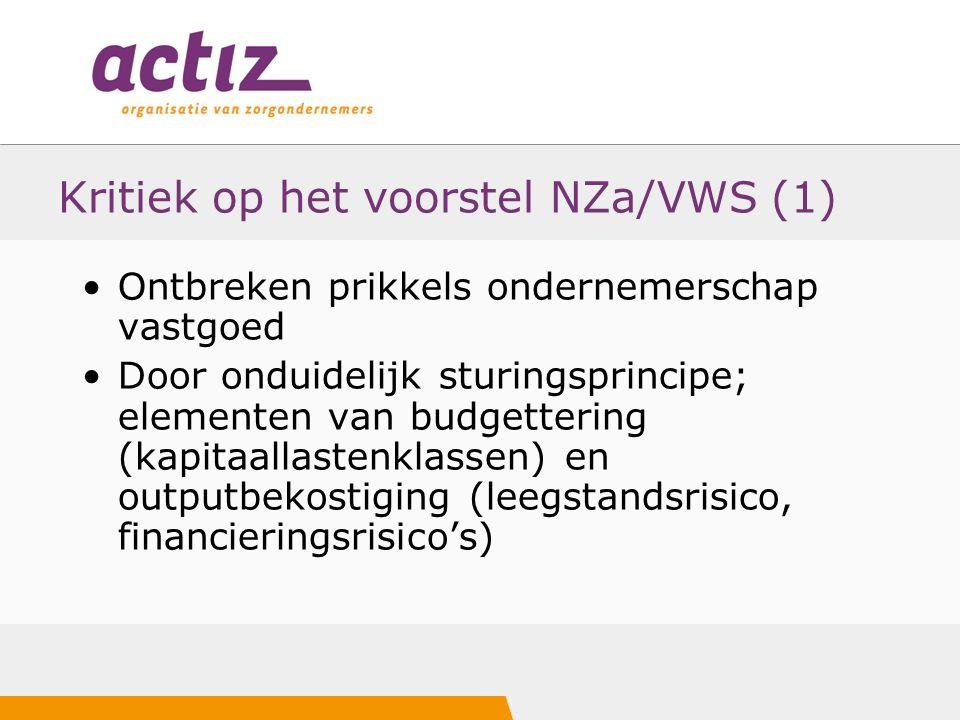 Kritiek op het voorstel NZa/VWS (1) Ontbreken prikkels ondernemerschap vastgoed Door onduidelijk sturingsprincipe; elementen van budgettering (kapitaallastenklassen) en outputbekostiging (leegstandsrisico, financieringsrisico's)
