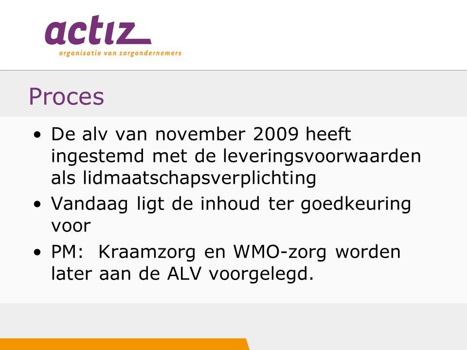 Proces De alv van november 2009 heeft ingestemd met de leveringsvoorwaarden als lidmaatschapsverplichting Vandaag ligt de inhoud ter goedkeuring voor PM: Kraamzorg en WMO-zorg worden later aan de ALV voorgelegd.