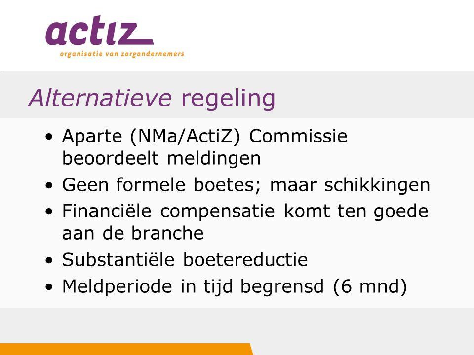 Alternatieve regeling Aparte (NMa/ActiZ) Commissie beoordeelt meldingen Geen formele boetes; maar schikkingen Financiële compensatie komt ten goede aan de branche Substantiële boetereductie Meldperiode in tijd begrensd (6 mnd)