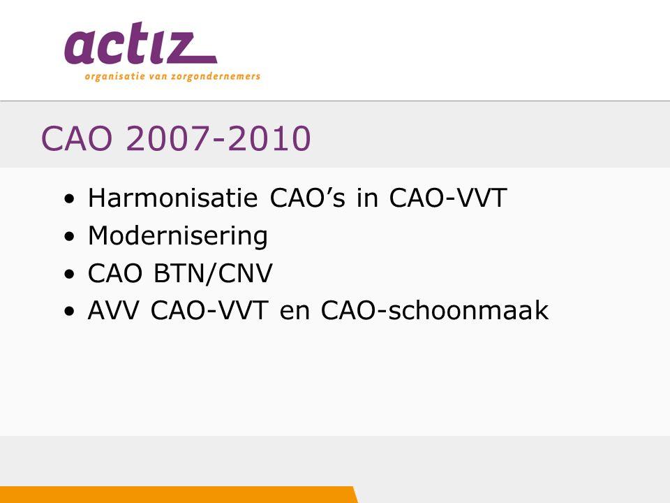 CAO 2007-2010 Harmonisatie CAO's in CAO-VVT Modernisering CAO BTN/CNV AVV CAO-VVT en CAO-schoonmaak