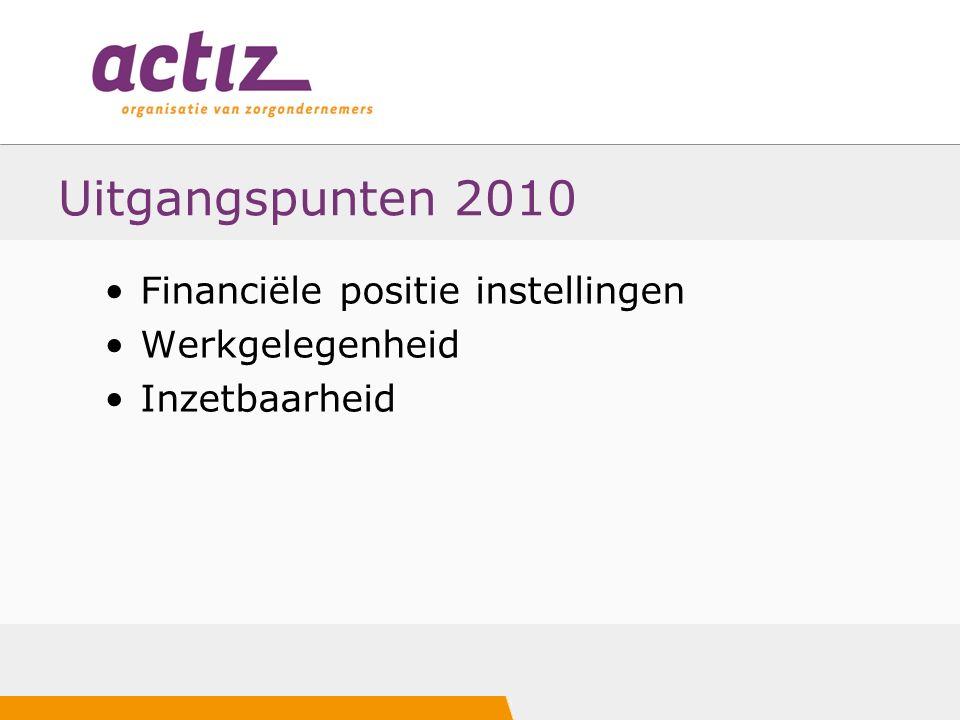 Uitgangspunten 2010 Financiële positie instellingen Werkgelegenheid Inzetbaarheid