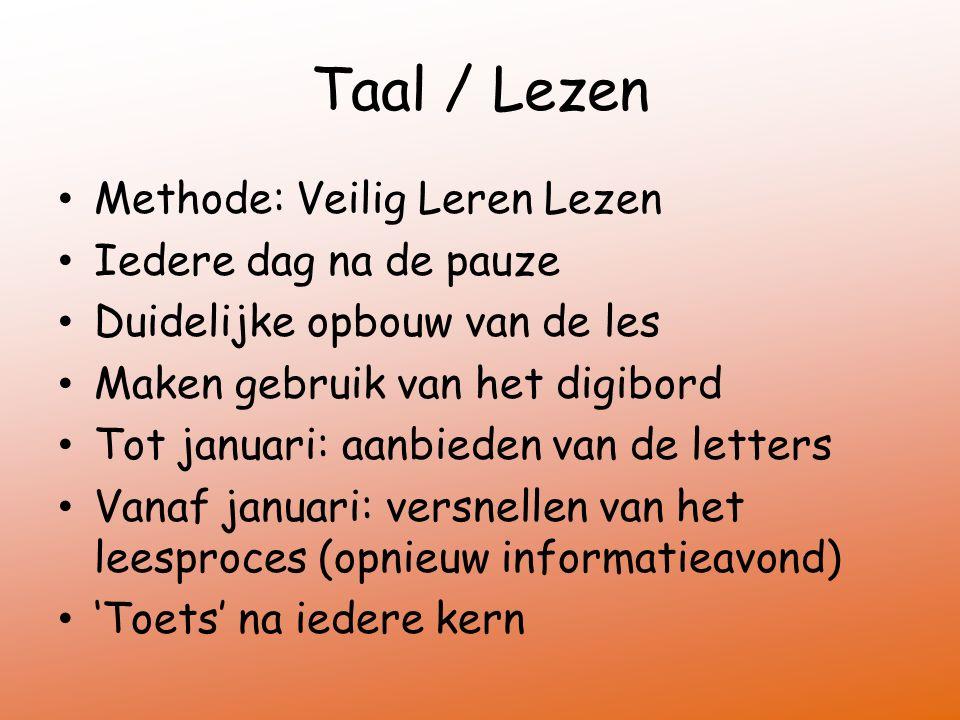 Taal / Lezen Methode: Veilig Leren Lezen Iedere dag na de pauze Duidelijke opbouw van de les Maken gebruik van het digibord Tot januari: aanbieden van