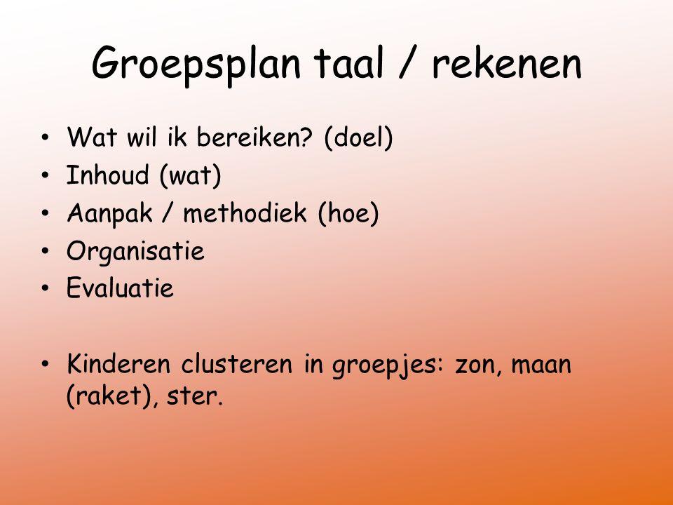 Groepsplan taal / rekenen Wat wil ik bereiken? (doel) Inhoud (wat) Aanpak / methodiek (hoe) Organisatie Evaluatie Kinderen clusteren in groepjes: zon,