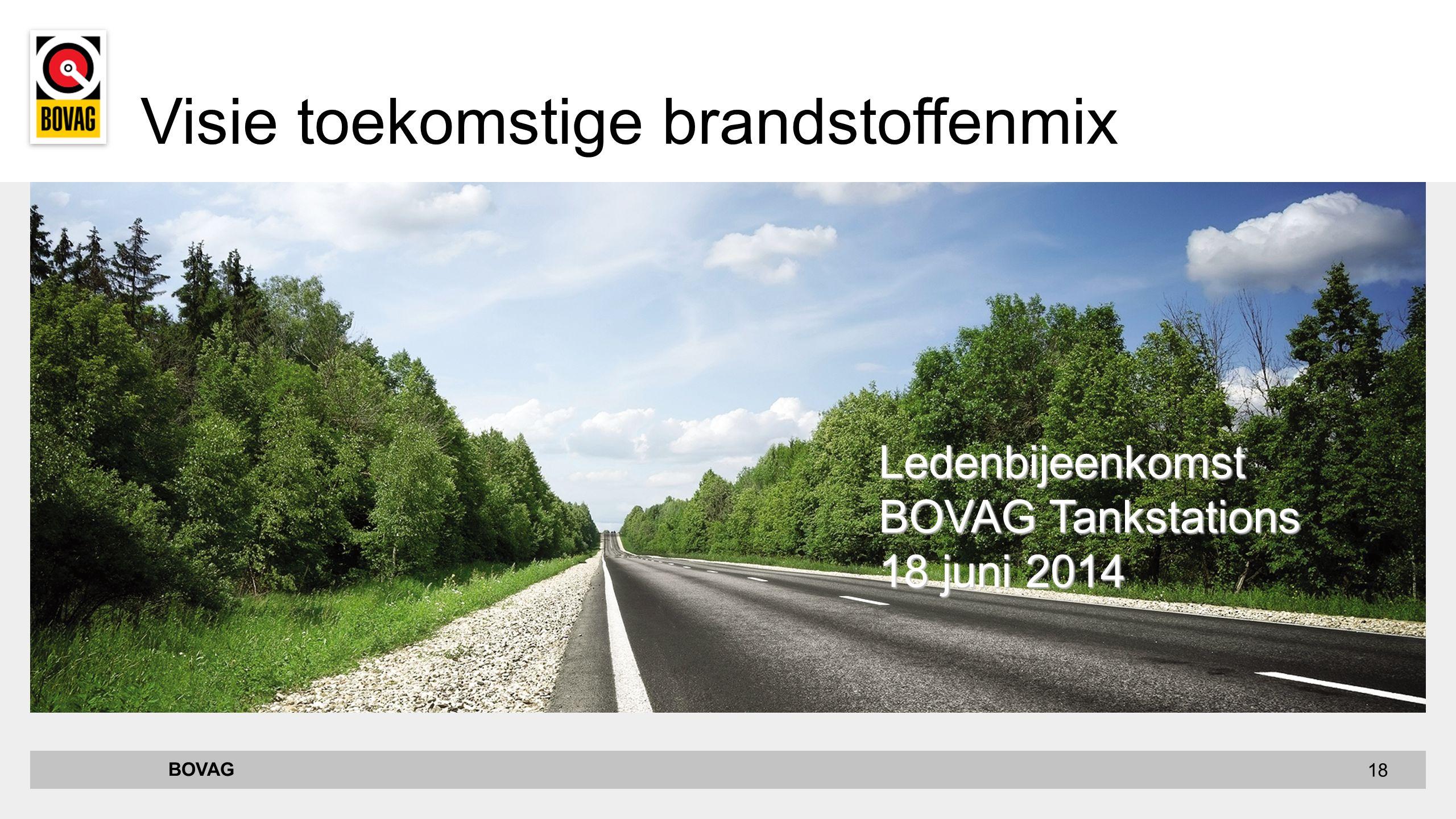 18 BOVAG Ledenbijeenkomst BOVAG Tankstations 18 juni 2014 Visie toekomstige brandstoffenmix