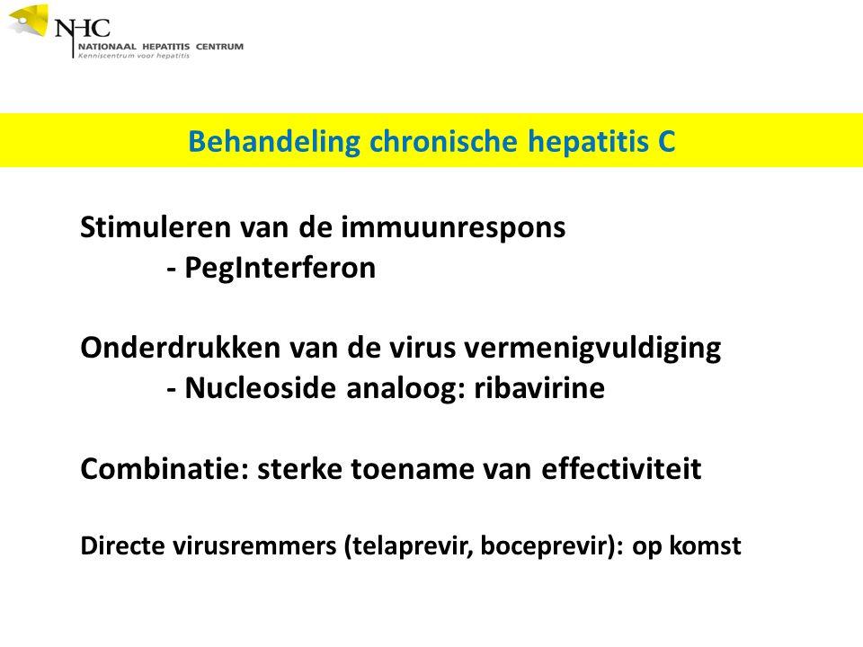 Behandeling chronische hepatitis C Stimuleren van de immuunrespons - PegInterferon Onderdrukken van de virus vermenigvuldiging - Nucleoside analoog: ribavirine Combinatie: sterke toename van effectiviteit Directe virusremmers (telaprevir, boceprevir): op komst