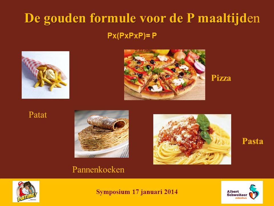 NAME OF PRESENTATION | 7 De gouden formule voor de P maaltijd De gouden formule voor de P maaltijden Patat Pannenkoeken Pizza Pasta Px(PxPxP)= P Symposium 17 januari 2014