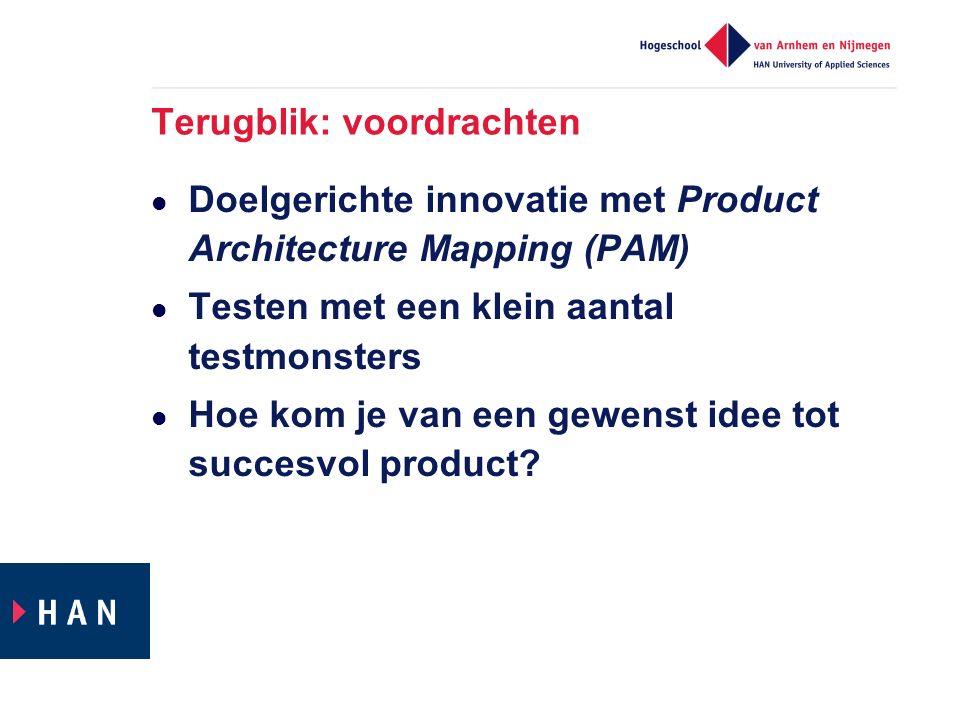 Terugblik: voordrachten Doelgerichte innovatie met Product Architecture Mapping (PAM) Testen met een klein aantal testmonsters Hoe kom je van een gewenst idee tot succesvol product