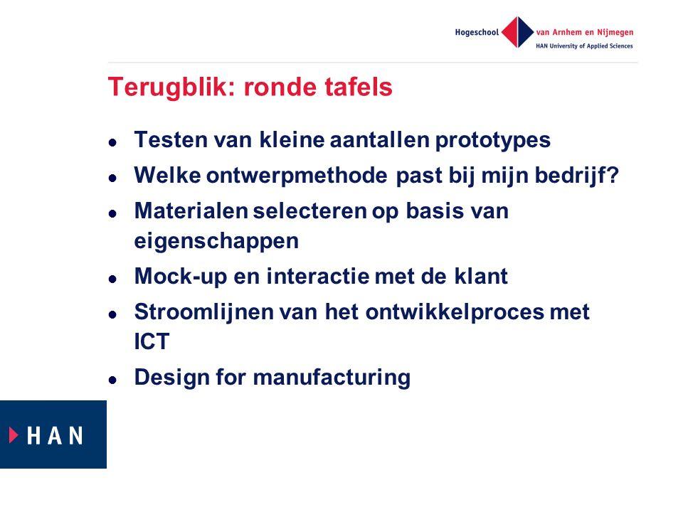 Terugblik: ronde tafels Testen van kleine aantallen prototypes Welke ontwerpmethode past bij mijn bedrijf? Materialen selecteren op basis van eigensch