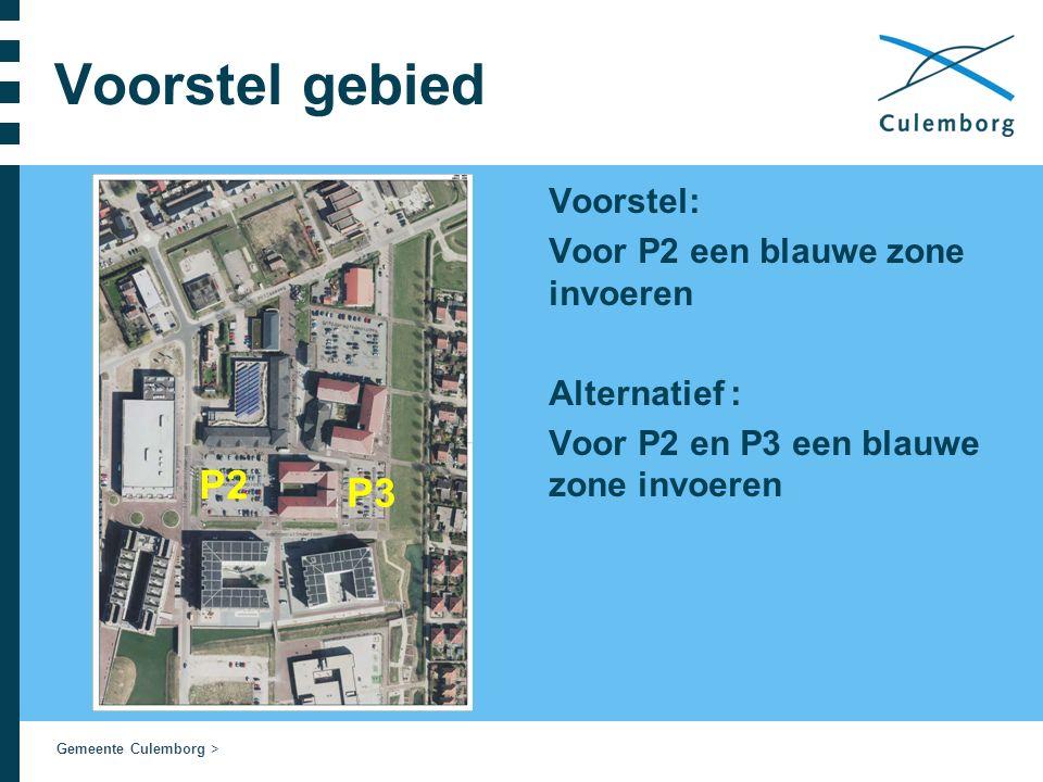 Gemeente Culemborg > Voorstel gebied Voorstel: Voor P2 een blauwe zone invoeren Alternatief : Voor P2 en P3 een blauwe zone invoeren P2 P3