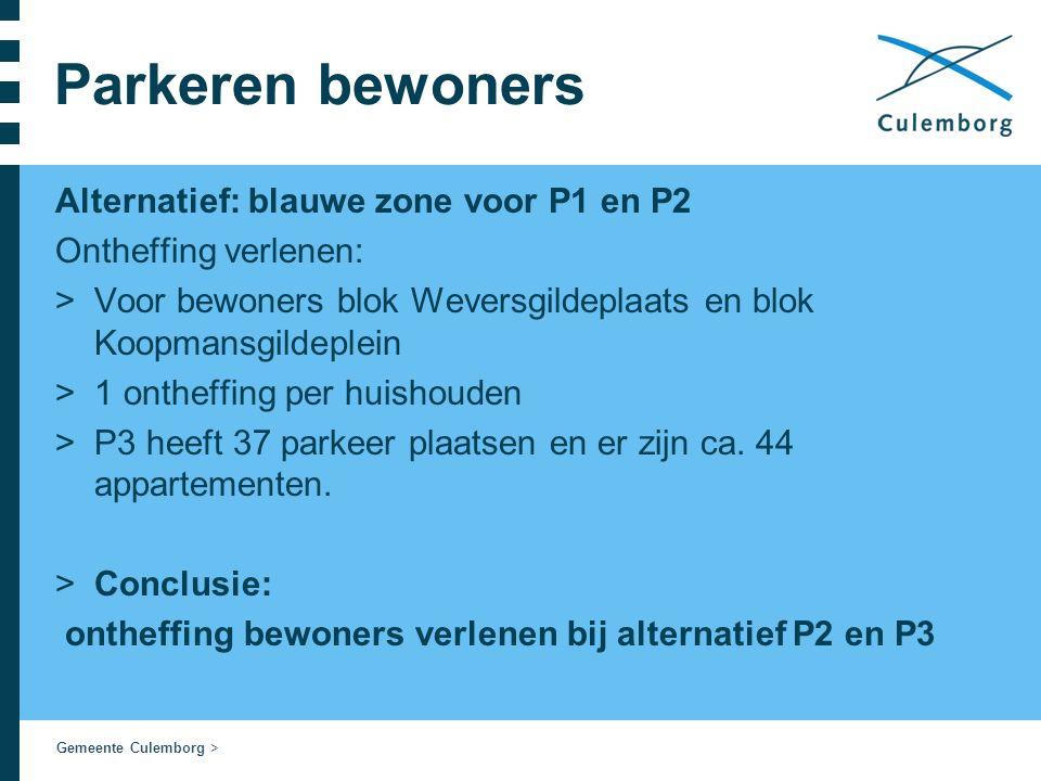 Gemeente Culemborg > Parkeren bewoners Alternatief: blauwe zone voor P1 en P2 Ontheffing verlenen: >Voor bewoners blok Weversgildeplaats en blok Koopmansgildeplein >1 ontheffing per huishouden >P3 heeft 37 parkeer plaatsen en er zijn ca.