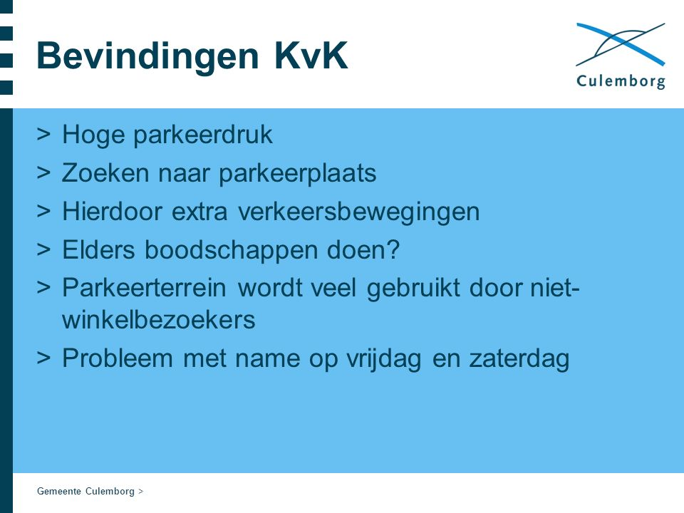 Gemeente Culemborg > Bevindingen KvK >Hoge parkeerdruk >Zoeken naar parkeerplaats >Hierdoor extra verkeersbewegingen >Elders boodschappen doen.