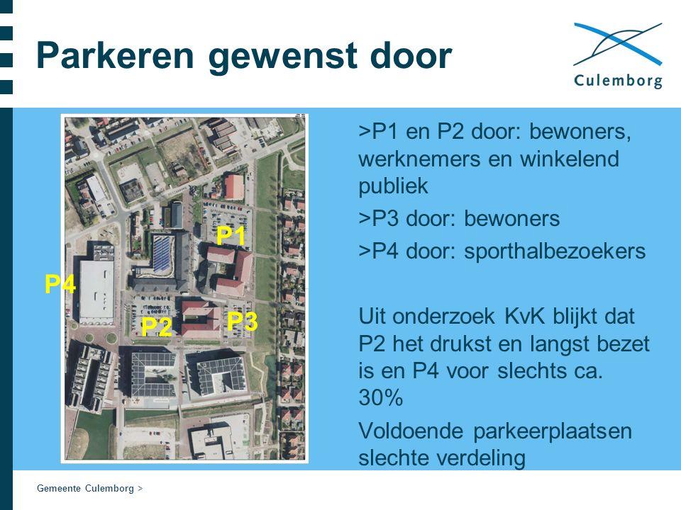 Gemeente Culemborg > Parkeren gewenst door >P1 en P2 door: bewoners, werknemers en winkelend publiek >P3 door: bewoners >P4 door: sporthalbezoekers Uit onderzoek KvK blijkt dat P2 het drukst en langst bezet is en P4 voor slechts ca.