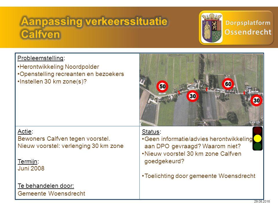 29.05.2016 Probleemstelling: Actie: Gemeente Woensdrecht Status: Geen informatie/advies herontwikkeling aan DPO gevraagd? Waarom niet? Nieuw voorstel