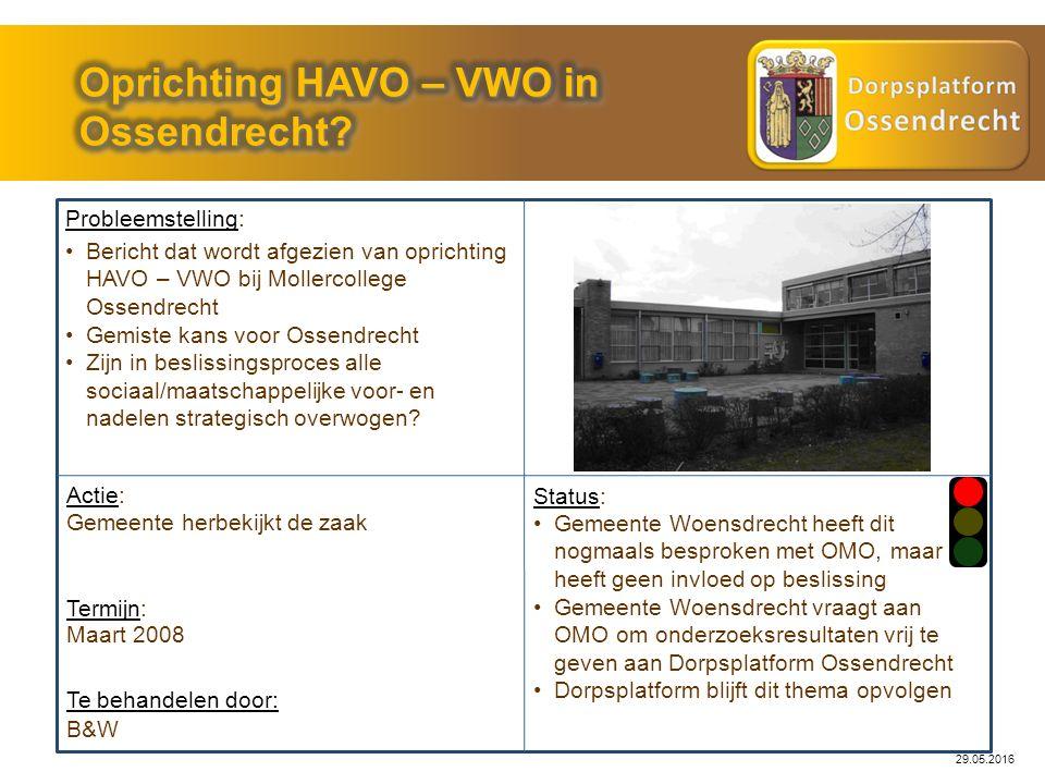 29.05.2016 Probleemstelling: Actie: B&W Status: Gemeente Woensdrecht heeft dit nogmaals besproken met OMO, maar heeft geen invloed op beslissing Gemee