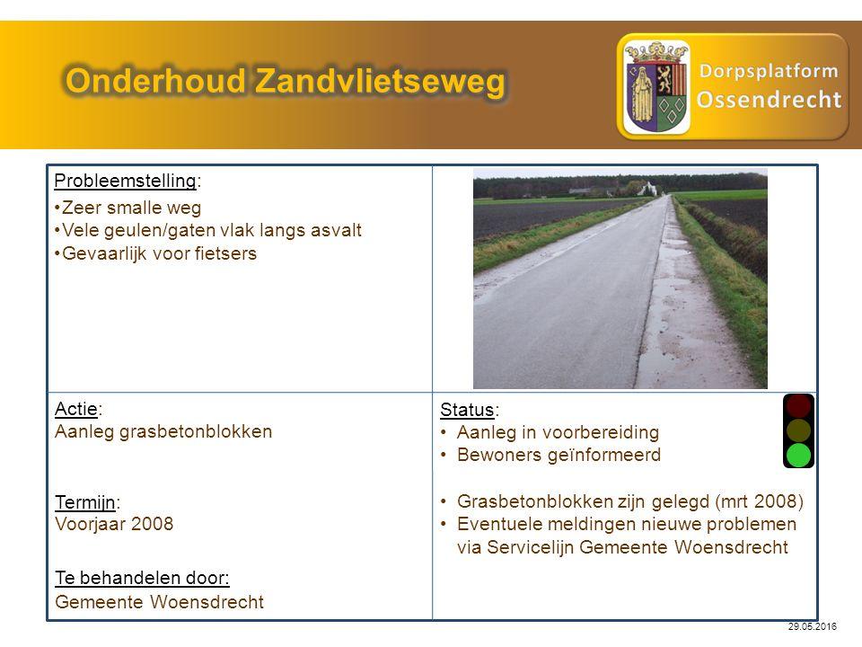 Probleemstelling: Actie: Gemeente Woensdrecht Status: Te behandelen door: Zeer smalle weg Vele geulen/gaten vlak langs asvalt Gevaarlijk voor fietsers