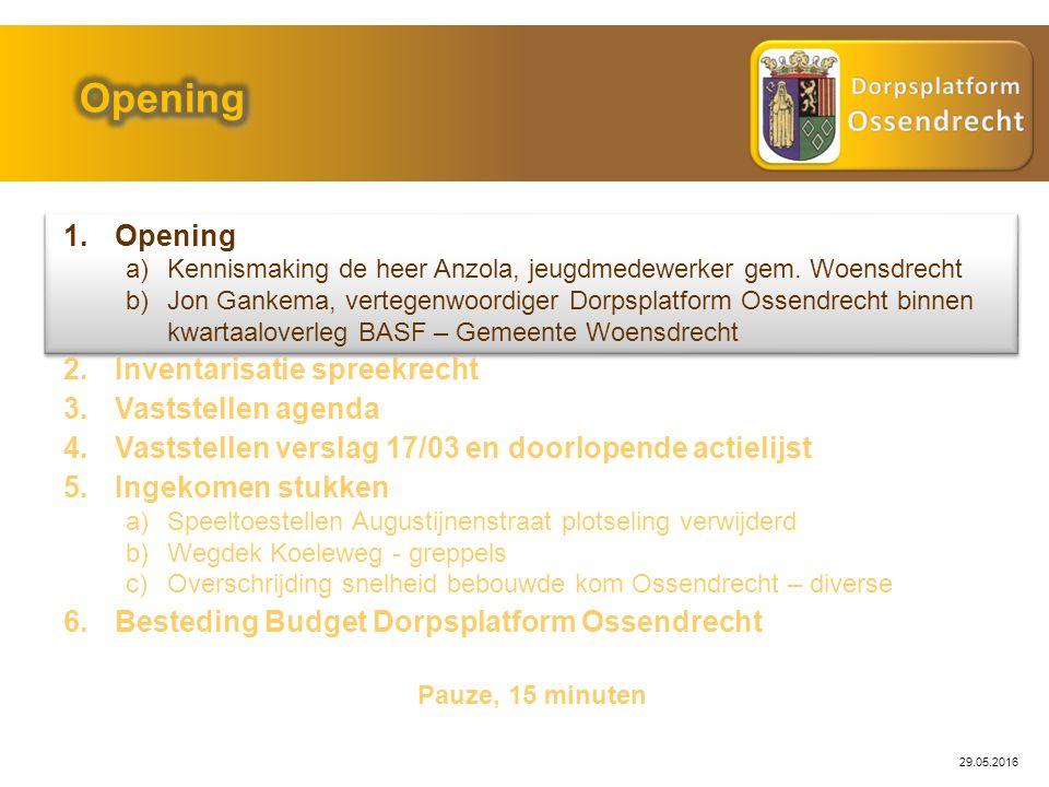 29.05.2016 1.Opening a)Kennismaking de heer Anzola, jeugdmedewerker gem.