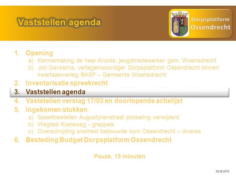 29.05.2016 Probleemstelling: Actie: Openbare Werken Status: Diverse acties gedefinieerd, nog niet uitgevoerd: Sloop – Akkoord Provinciale Staten Nieuwbouwplannen Uitvoering, wanneer .