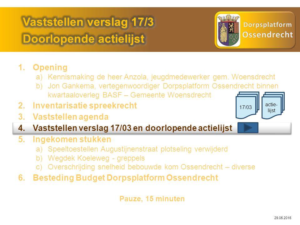 29.05.2016 Probleemstelling: Actie: Openbare Werken Status: Geen informatie gekregen Huidige status.