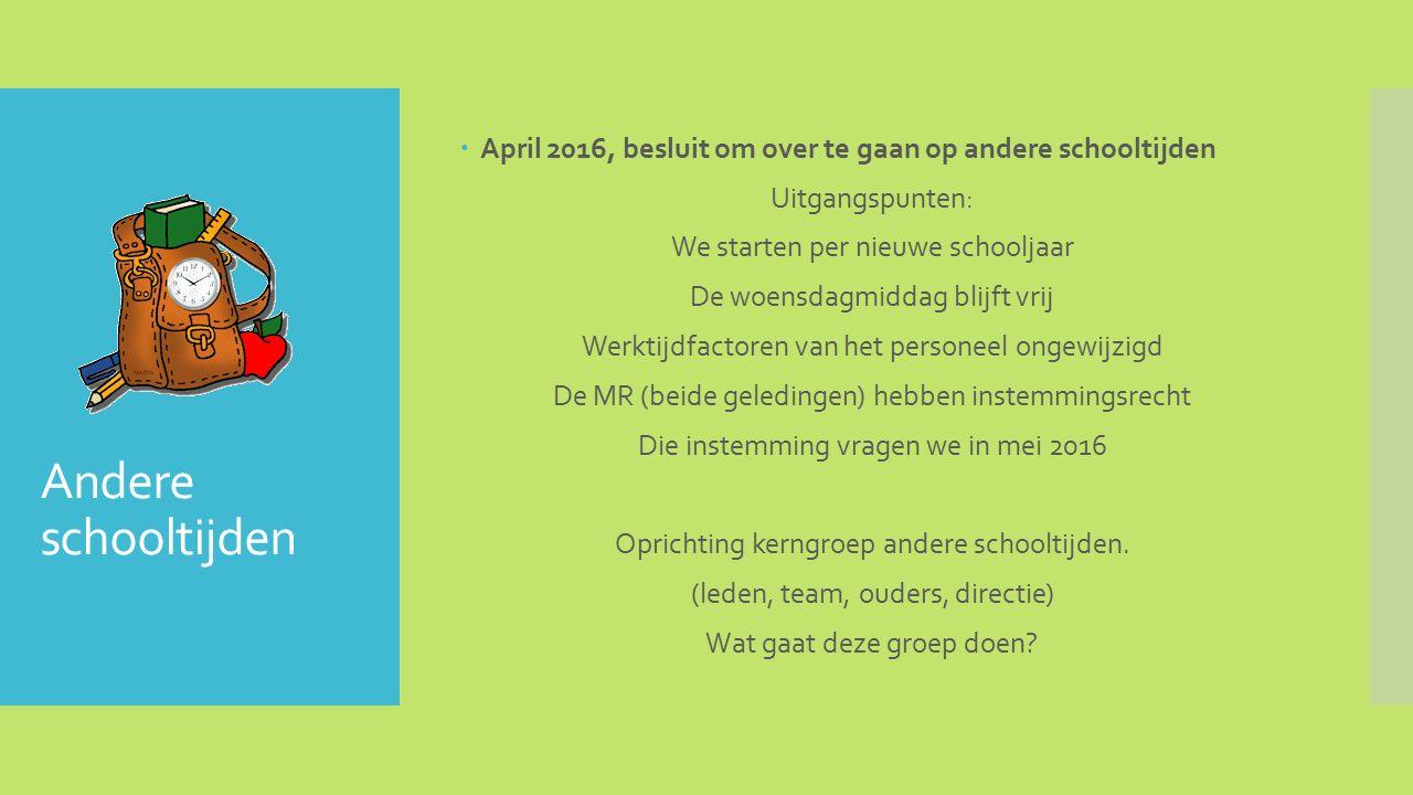 Andere schooltijden  Voorstel rooster: MaandagDinsdagWoensdagDonderdagVrijdag 8.30-12.00 12.30-14.30 8.30-12.00 12.30-14.30 8.30-11.45 of 8.30-12.30 8.30-12.00 12.30-14.30 8.30-11.45 of 8.30-12.00 12.30-14.30 Woensdag: onderbouw tot 11.45 uur.