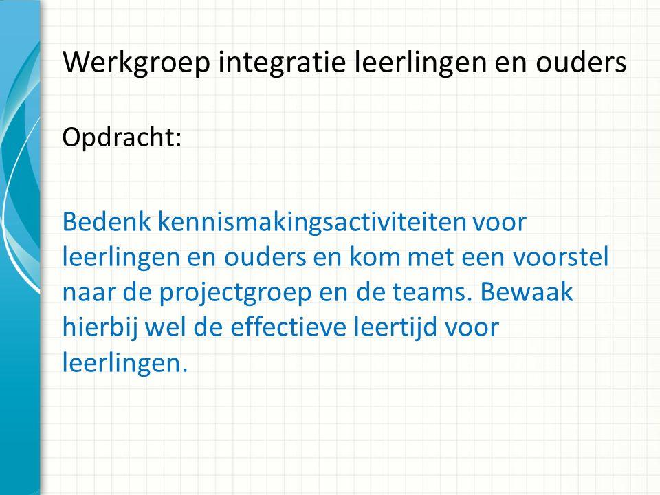 Werkgroep integratie leerlingen en ouders Opdracht: Bedenk kennismakingsactiviteiten voor leerlingen en ouders en kom met een voorstel naar de projectgroep en de teams.