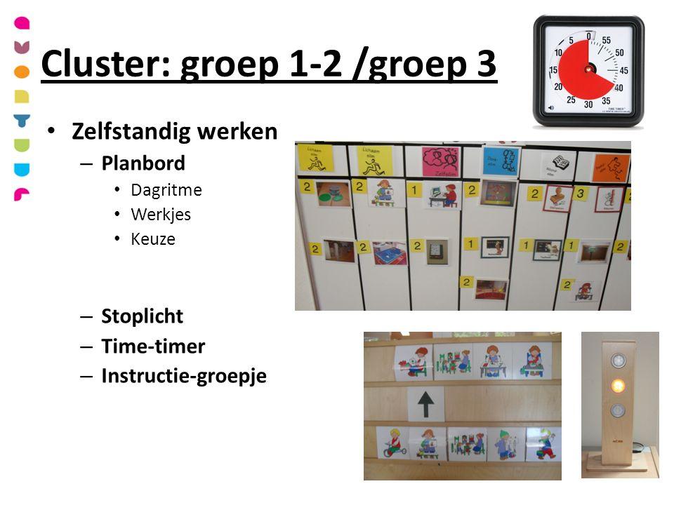 Cluster: groep 1-2 /groep 3 Zelfstandig werken – Planbord Dagritme Werkjes Keuze – Stoplicht – Time-timer – Instructie-groepje