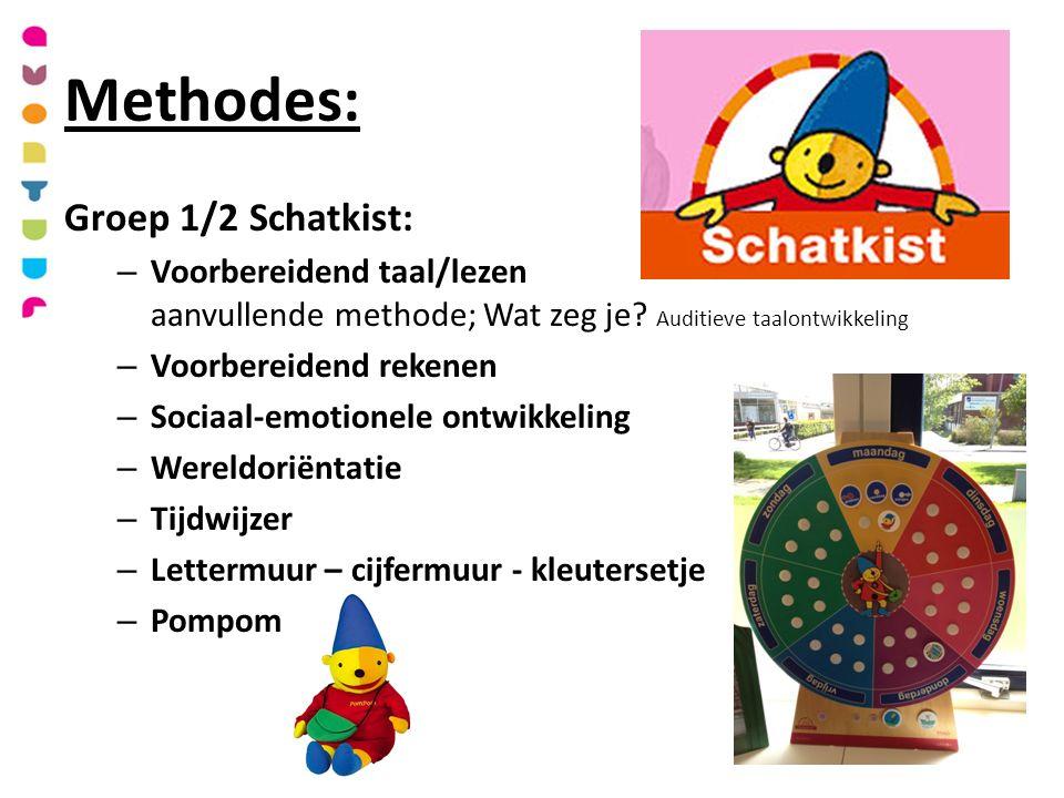 Methodes: Groep 1/2 Schatkist: – Voorbereidend taal/lezen aanvullende methode; Wat zeg je.