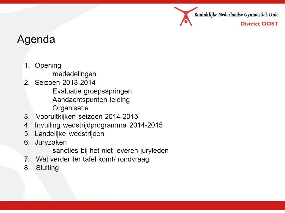 Agenda 1.Opening mededelingen 2.Seizoen 2013-2014 Evaluatie groepsspringen Aandachtspunten leiding Organisatie 3.