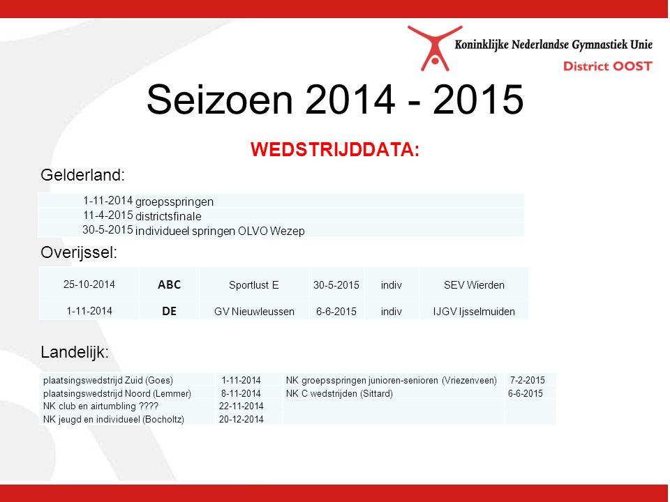 Seizoen 2014 - 2015 WEDSTRIJDDATA: Gelderland: Overijssel: Landelijk: 25-10-2014 ABC Sportlust E30-5-2015indivSEV Wierden 1-11-2014 DE GV Nieuwleussen6-6-2015indivIJGV Ijsselmuiden plaatsingswedstrijd Zuid (Goes) 1-11-2014 NK groepsspringen junioren-senioren (Vriezenveen) 7-2-2015 plaatsingswedstrijd Noord (Lemmer) 8-11-2014 NK C wedstrijden (Sittard) 6-6-2015 NK club en airtumbling .