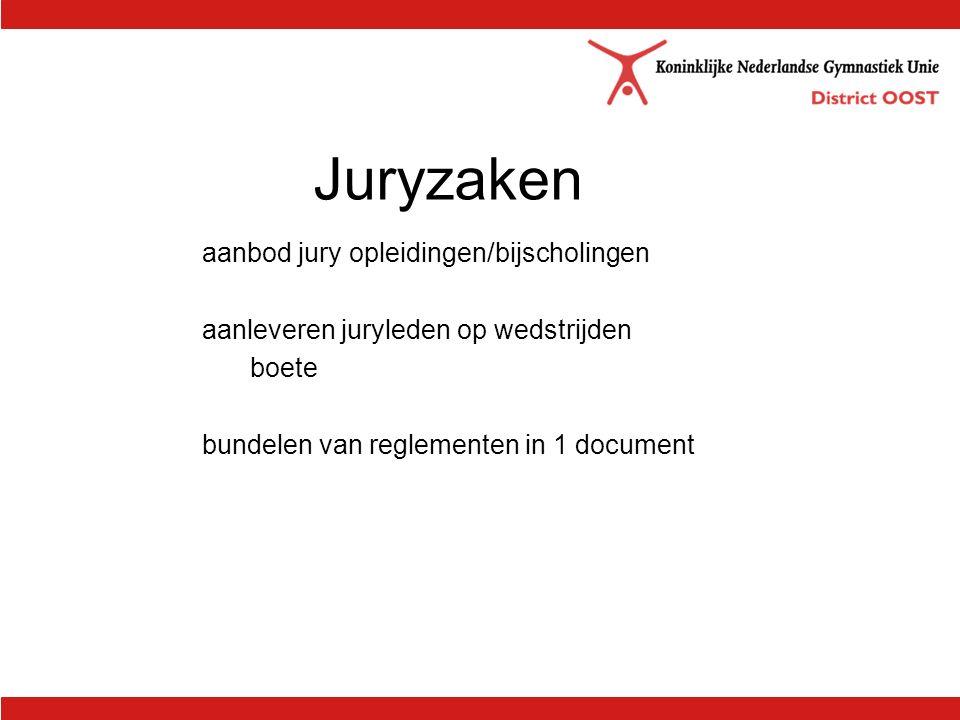 Juryzaken aanbod jury opleidingen/bijscholingen aanleveren juryleden op wedstrijden boete bundelen van reglementen in 1 document