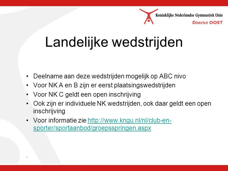 Landelijke wedstrijden Deelname aan deze wedstrijden mogelijk op ABC nivo Voor NK A en B zijn er eerst plaatsingswedstrijden Voor NK C geldt een open inschrijving Ook zijn er individuele NK wedstrijden, ook daar geldt een open inschrijving Voor informatie zie http://www.kngu.nl/nl/club-en- sporter/sportaanbod/groepsspringen.aspxhttp://www.kngu.nl/nl/club-en- sporter/sportaanbod/groepsspringen.aspx.