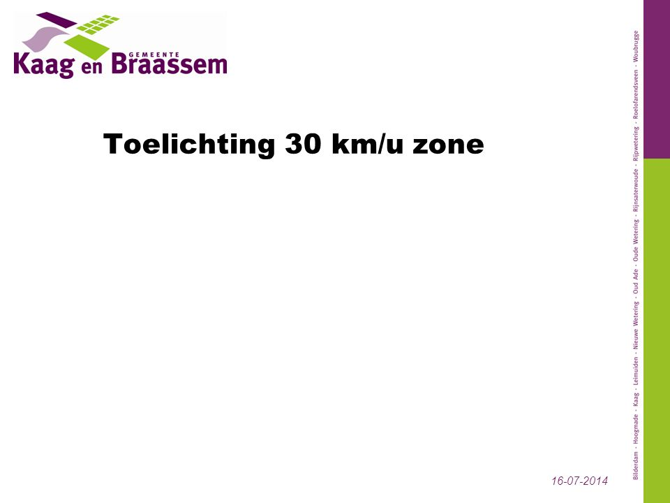 Toelichting 30 km/u zone