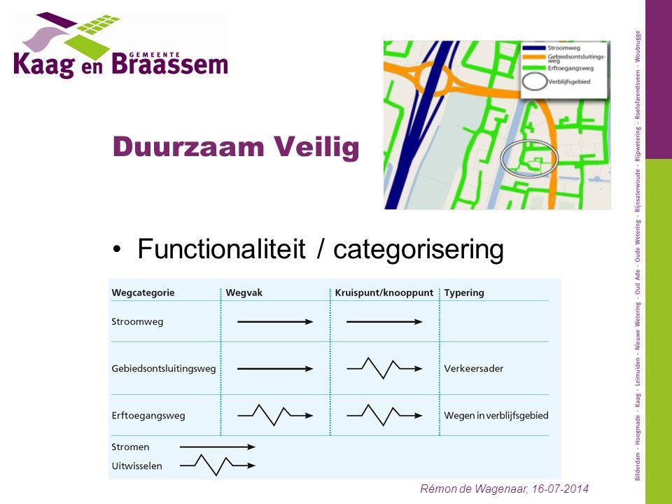 Duurzaam Veilig Rémon de Wagenaar, 16-07-2014 Functionaliteit / categorisering