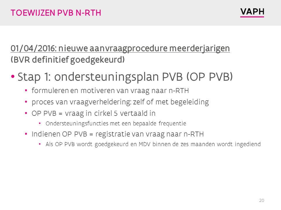 TOEWIJZEN PVB N-RTH 01/04/2016: nieuwe aanvraagprocedure meerderjarigen (BVR definitief goedgekeurd) Stap 1: ondersteuningsplan PVB (OP PVB) formuleren en motiveren van vraag naar n-RTH proces van vraagverheldering: zelf of met begeleiding OP PVB = vraag in cirkel 5 vertaald in Ondersteuningsfuncties met een bepaalde frequentie Indienen OP PVB = registratie van vraag naar n-RTH Als OP PVB wordt goedgekeurd en MDV binnen de zes maanden wordt ingediend 20