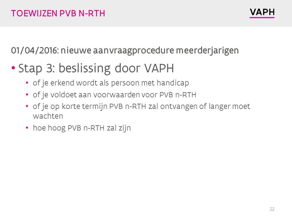 TOEWIJZEN PVB N-RTH 01/04/2016: nieuwe aanvraagprocedure meerderjarigen Stap 3: beslissing door VAPH of je erkend wordt als persoon met handicap of je voldoet aan voorwaarden voor PVB n-RTH of je op korte termijn PVB n-RTH zal ontvangen of langer moet wachten hoe hoog PVB n-RTH zal zijn 22