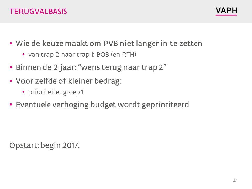 TERUGVALBASIS Wie de keuze maakt om PVB niet langer in te zetten van trap 2 naar trap 1: BOB (en RTH) Binnen de 2 jaar: wens terug naar trap 2 Voor zelfde of kleiner bedrag: prioriteitengroep 1 Eventuele verhoging budget wordt geprioriteerd Opstart: begin 2017.