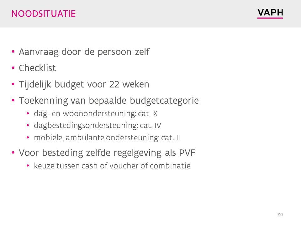 NOODSITUATIE Aanvraag door de persoon zelf Checklist Tijdelijk budget voor 22 weken Toekenning van bepaalde budgetcategorie dag- en woonondersteuning: cat.