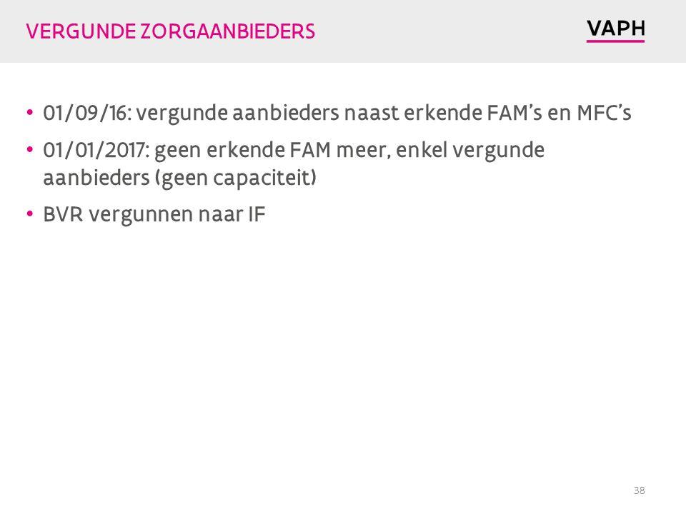 VERGUNDE ZORGAANBIEDERS 01/09/16: vergunde aanbieders naast erkende FAM's en MFC's 01/01/2017: geen erkende FAM meer, enkel vergunde aanbieders (geen capaciteit) BVR vergunnen naar IF 38