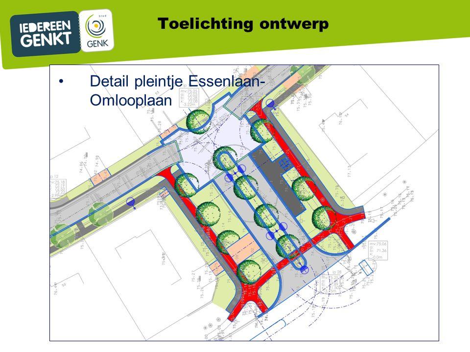 Detail pleintje Essenlaan- Omlooplaan Toelichting ontwerp