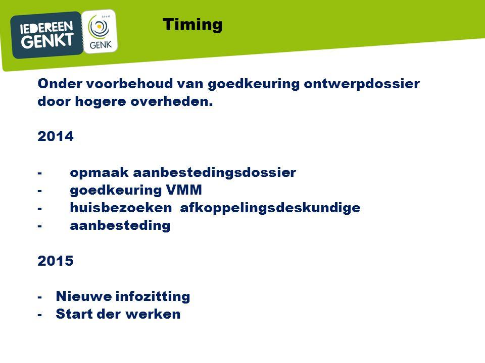 Timing Onder voorbehoud van goedkeuring ontwerpdossier door hogere overheden.