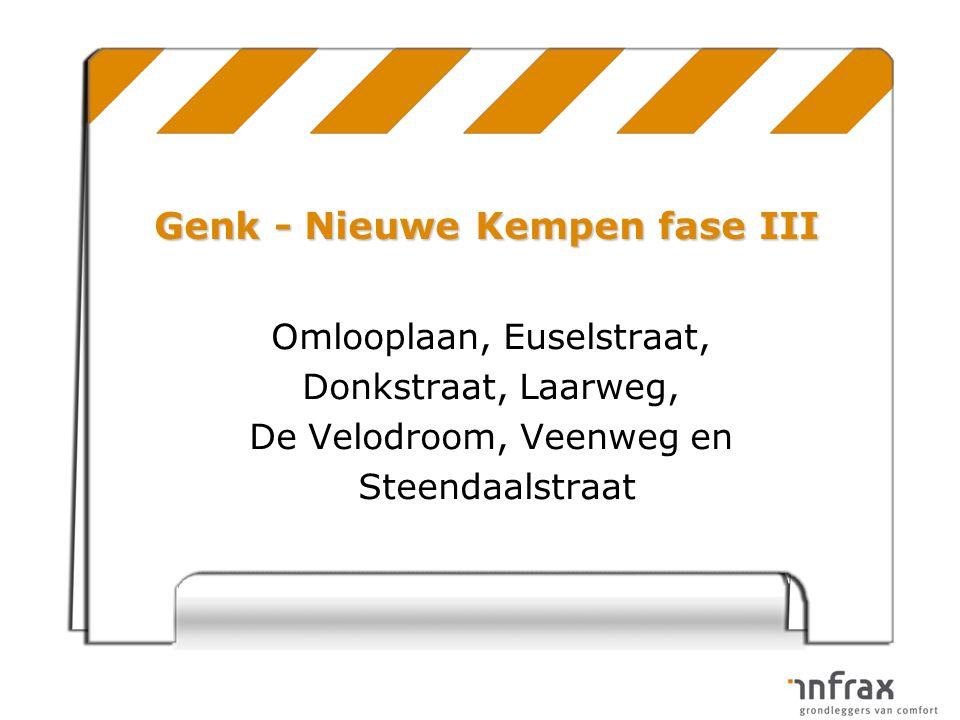 Omlooplaan, Euselstraat, Donkstraat, Laarweg, De Velodroom, Veenweg en Steendaalstraat Genk - Nieuwe Kempen fase III