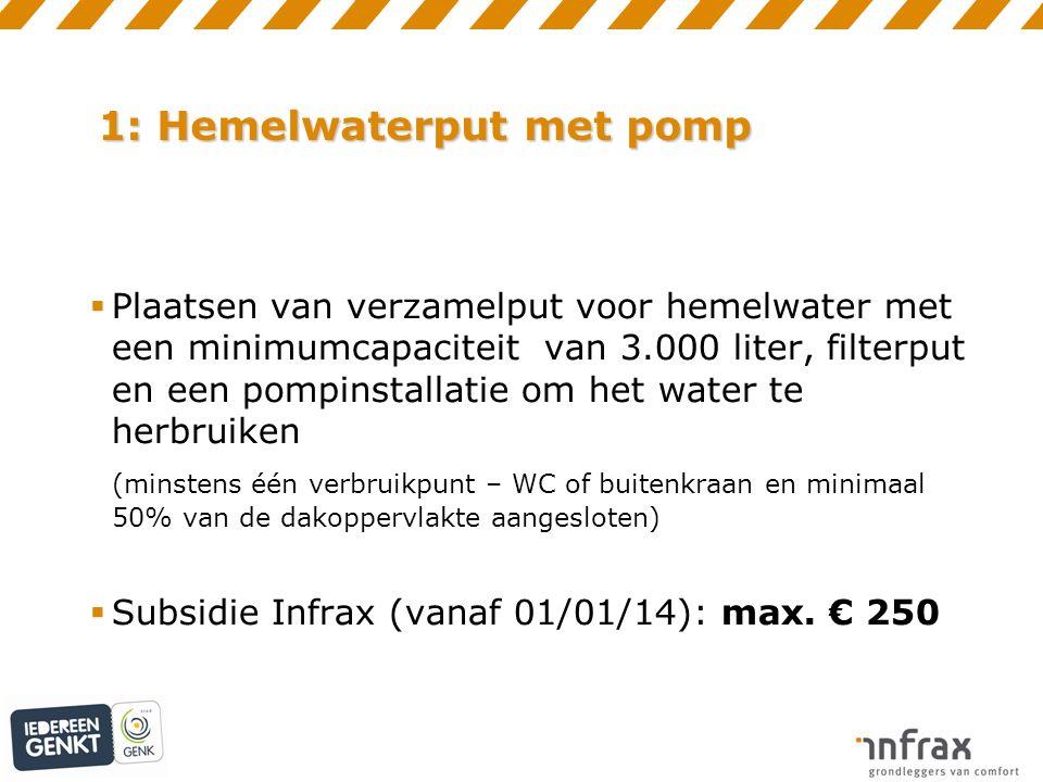 1: Hemelwaterput met pomp  Plaatsen van verzamelput voor hemelwater met een minimumcapaciteit van 3.000 liter, filterput en een pompinstallatie om het water te herbruiken (minstens één verbruikpunt – WC of buitenkraan en minimaal 50% van de dakoppervlakte aangesloten)  Subsidie Infrax (vanaf 01/01/14): max.