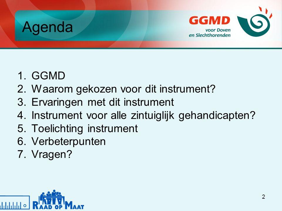 2 Agenda 1.GGMD 2.Waarom gekozen voor dit instrument.